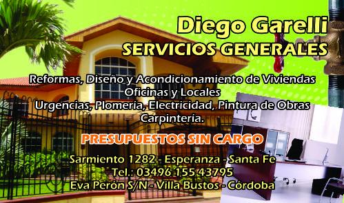 tarjetas servicios generales diego garelli